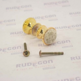 KIT PUXADOR CACTOS MESCLADO MARGARIDA 27mm DOURADO PUXE CHIC